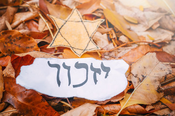 """Hebrew inscription """"remember"""", cande and Star of David on autumn leaves in the park"""