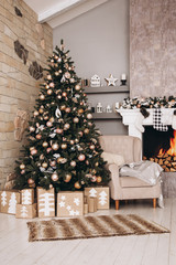 Foto op Canvas Kerstmis Christmas interior and Christmas tree