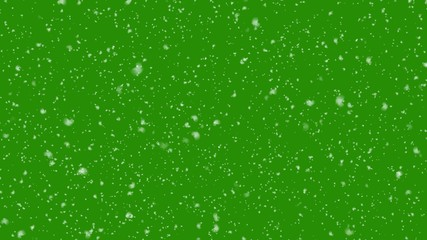Winter background. falling snow isolated on green screen. 3d Illustration