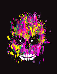 Printed roller blinds Watercolor Skull Gradient drop skull icon, colorful background