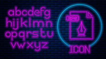Glowing neon EPS file document. Download eps button icon isolated on brick wall background. EPS file symbol. Neon light alphabet. Vector Illustration