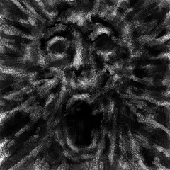 Exploding human face with opened mouth. Black and white illustration in horror genre with coal and noise effect