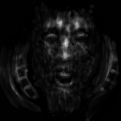 Angry human face with open mouth. Black and white illustration in horror genre with coal and noise effect.