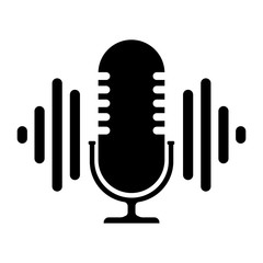 Podcast. Icon on a white background, icon, stamp, logo. Stock vector illustration.