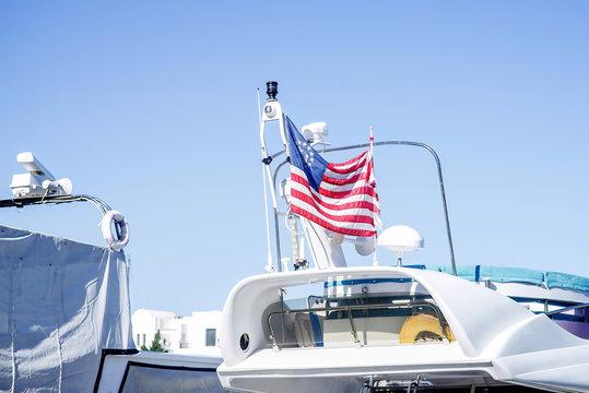 American flag on yacht. Marine, sea. Freedom concept
