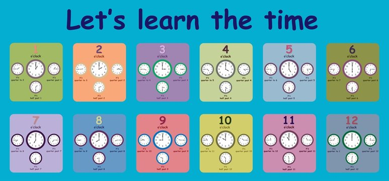 Educational worksheet that helps children learn to tell the time