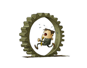 illustration of a businessman who is running inside a cogwheel, Concept of effort and daily routine. isolated