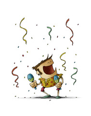 Funny illustration of a man dancing and playing the maracas. Celebration concept. isolated