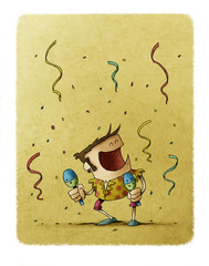 Funny illustration of a man dancing and playing the maracas. Celebration concept.