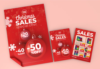 Christmas Sale Flyer and Poster Layout Set