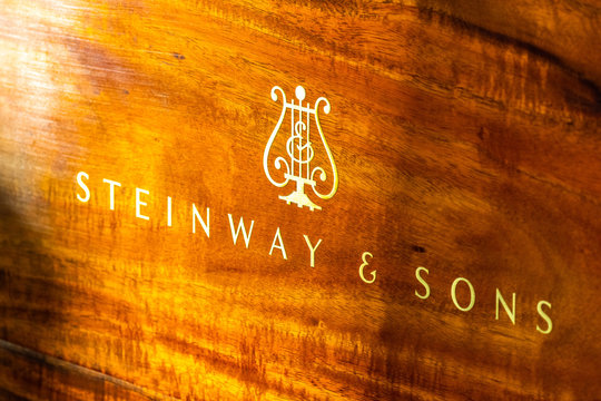 Oct 26, 2019 San Francisco / CA / USA - Steinway & Sons logo and symbol displated on a concert piano; Steinway & Sons is an American piano company founded in 1853 in Manhattan