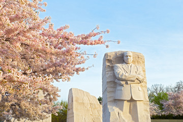 WASHINGTON DC, USA – APRIL 4, 2019: Martin Luther King Jr Memorial during cherry blossom festival on in Washington DC on April 4, 2019. The memorial opened to the public on August 22, 2011.