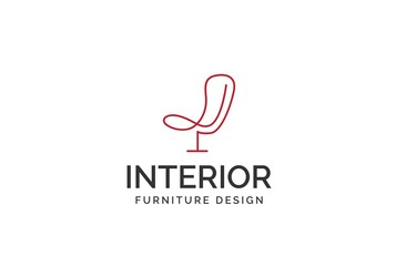 Simple minimalist chair line art furniture interior logo design with flat vector graphics