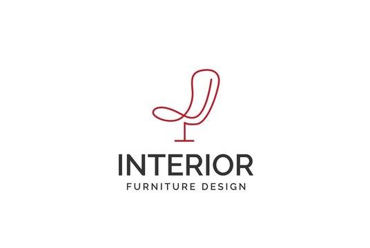 Simple minimalist chair line art furniture interior logo design with flat vector graphics