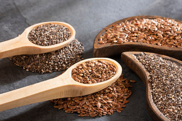 Organic chia and linseed seeds - Text space