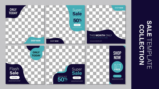 Sale template collection for promotion sale. Editable banner for social media post, web and internet.