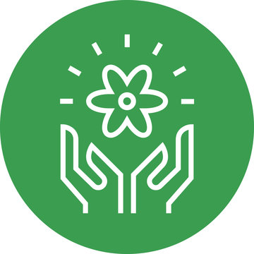 Hands Holding Flower Outline Icon