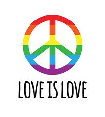 Vector lgbt rainbow flag peace sign with love is love lettering isolated on white background