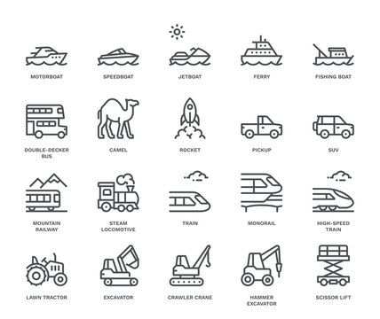Transport Icons, side view,  Monoline concept The icons were created on a 48x48 pixel aligned, perfect grid providing a clean and crisp appearance. Adjustable stroke weight.