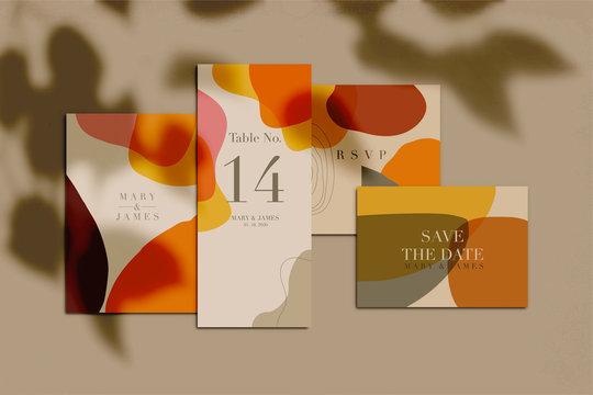 Wedding invitation set with shadow overlay. Vector illustration