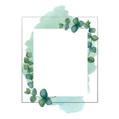 Watercolor square frame with eucalyptus branches and blue splash of paint on white background.