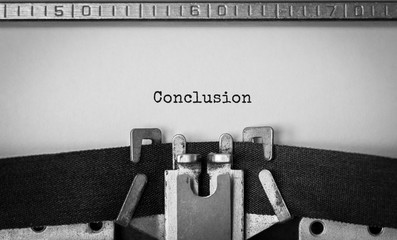 Text Conclusion typed on retro typewriter