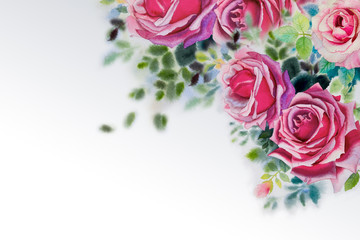 Valentine, New year's card with bright pink rose.