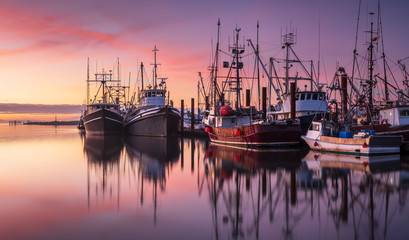 Fishing boats in Steveston Harbour at dusk, Richmond, British Columbia Wall mural