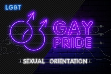 Vector realistic isolated neon sign of Gay pride logo for decoration and covering on the wall background.