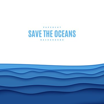 Abstract square background in cut paper style. Cutout blue sea wave template for for save the Earth posters, World Water Day, eco brochures. Vector water applique illustration with copy space.