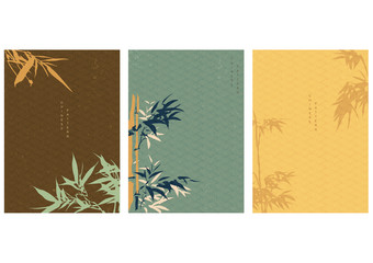 Chinese background with bamboo elements decoration in Oriental style. Japanese wave pattern vector. Asian template with copy space. I create this illustration by myself.