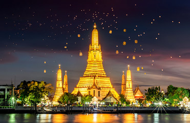 Poster Bangkok Wat Arun is one of the well-known landmarks of Thailand, Wat Arun is the royal temple that the Thai monarch uses for water Kathin of Bangkok, Thailand.
