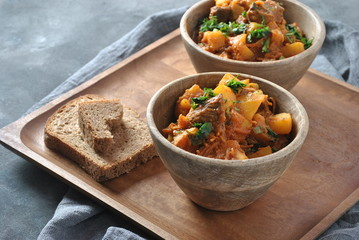 Irish stew made with beef, potatoes, carrots and herbs. Traditional St Patrick's day main dish