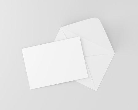 A6 Invitation Card Postcard White Blank Mockup