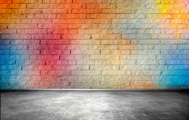 Colorful brick wall, street background