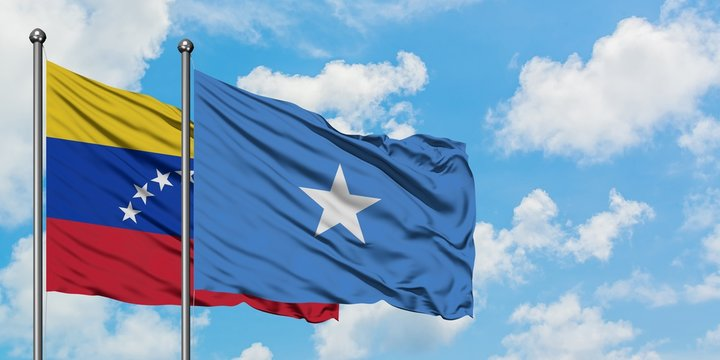 Venezuela and Somalia flag waving in the wind against white cloudy blue sky together. Diplomacy concept, international relations.