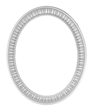 Gray or silver Oval Frame isolated on white with clipping path