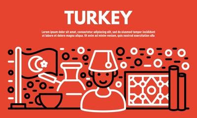 Turkey banner. Outline illustration of Turkey vector banner for web design