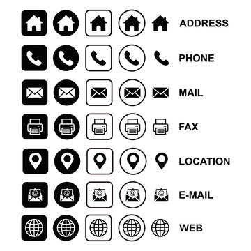 web icon set, business card icon concept, website icon vector symbol  for contact us