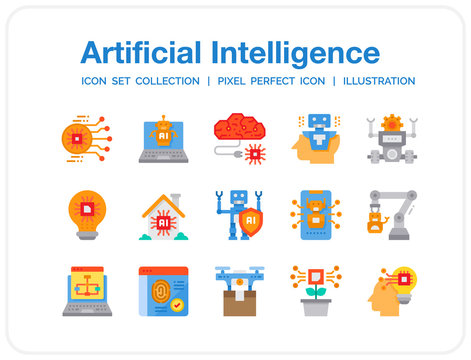 Artificial Intelligence Icons Set. UI Pixel Perfect Well-crafted Vector Thin Line Icons. The illustrations are a vector.