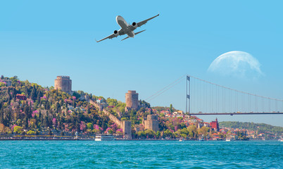 "Airplane flying above the Rumeli Hisari (fortress) in to Bosphorus Sea , Istanbul, Turkey  ""Elements of this image furnished by NASA """
