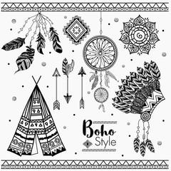 Set of hand drawn Boho design elements.