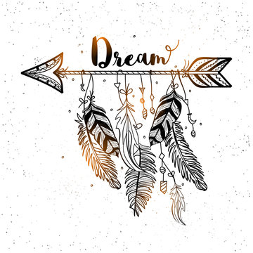 Hand drawn dreamcatcher with arrow and feathers.