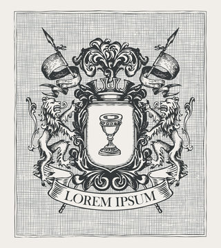 Vector heraldic Coat of arms in vintage style with knightly shield, spears, crown, lions, ribbon and Grail. A medieval heraldry, emblem, symbol. Old hand-drawn image or engraved illustration.