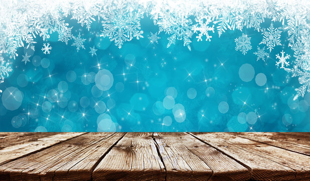 Empty old wooden table background - christmas background