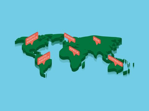 isometric world map with pointers. green continents on blue background. realistic 3d vector concept map easy to edit and customize. eps 10
