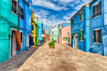 Colorful painted houses on the island of Burano, Venice, Italy