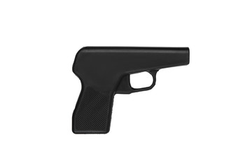 Black rubber dummy gun isolate on a white background. Dummy weapons for training in self-defense. Fake guns made from rubber For the training of police, soldiers and security personnel