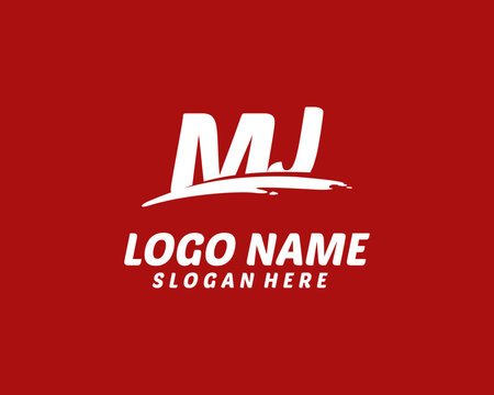 MJ Initial with splash logo vector