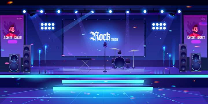 Stage with rock music instruments, popular singer banners, equipment and illumination, empty scene interior with drums, synthesizer, microphone, dynamics lights and screen. Cartoon vector illustration